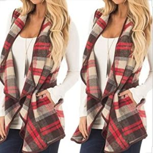 Red, Tan Wool Plaid Ruffle Vest with Pockets Small